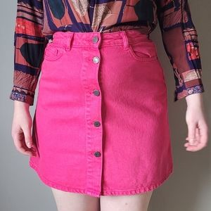 Noisy May sunny red pink denim skirt button front